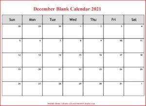 December Blank Calendar 2021
