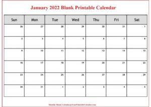January 2022 Blank Printable Calendar pdf