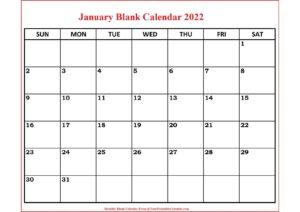 January Blank Calendar 2022 pdf