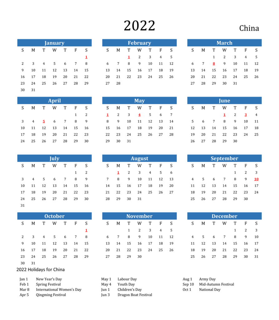 China 2022 Public Holiday Calendar