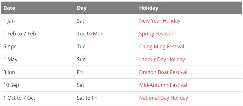 China 2022 Holiday Calendar