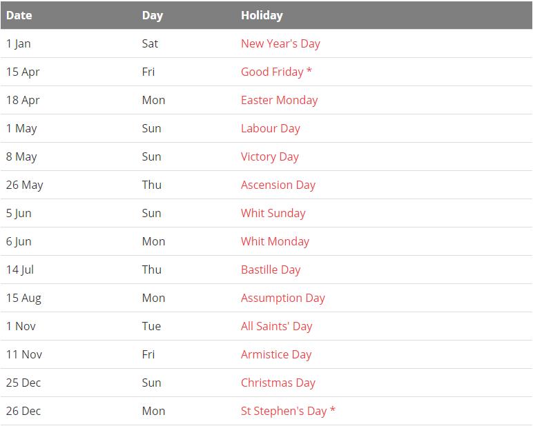 France 2022 Holiday Calendar