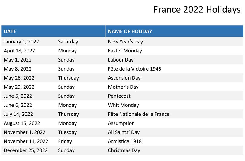 France 2022 Public Holiday Calendar