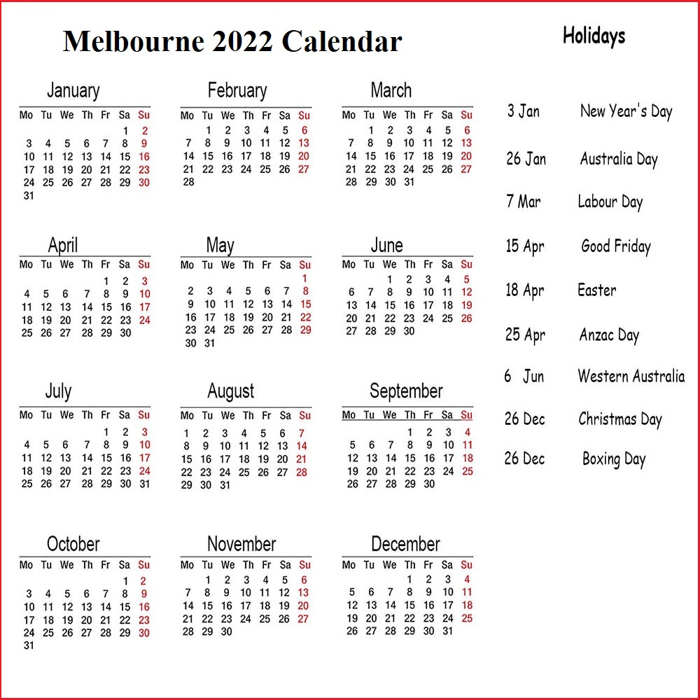 Melbourne 2022 Public Holiday Calendar